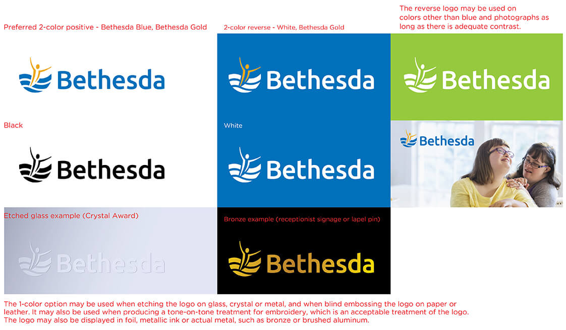 Image of Bethesda Design Standards Logo Guidelines for Logo Colors